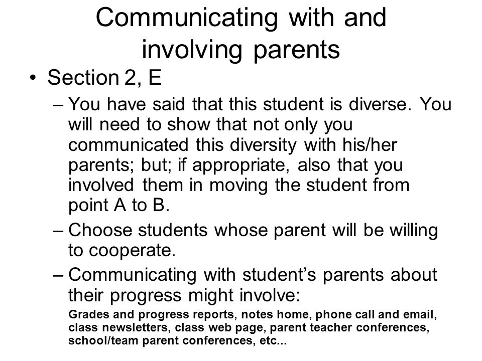 Communicating with and involving parents