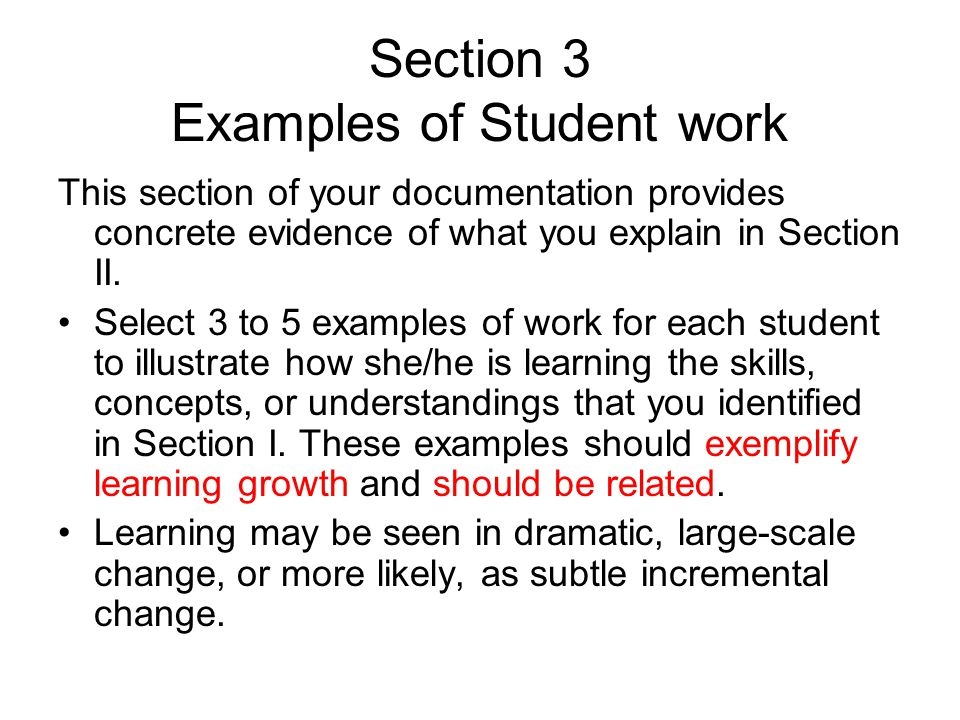 Section 3 Examples of Student work