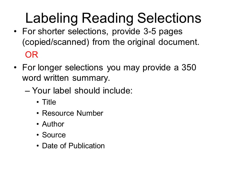 Labeling Reading Selections