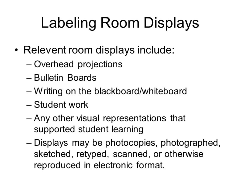 Labeling Room Displays