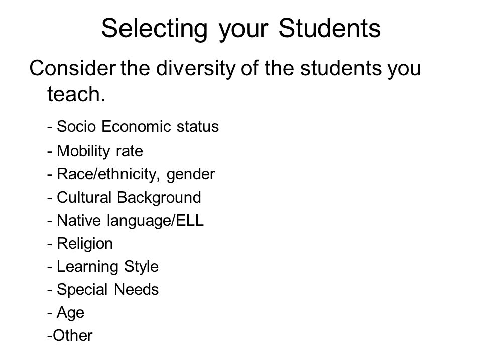 Selecting your Students