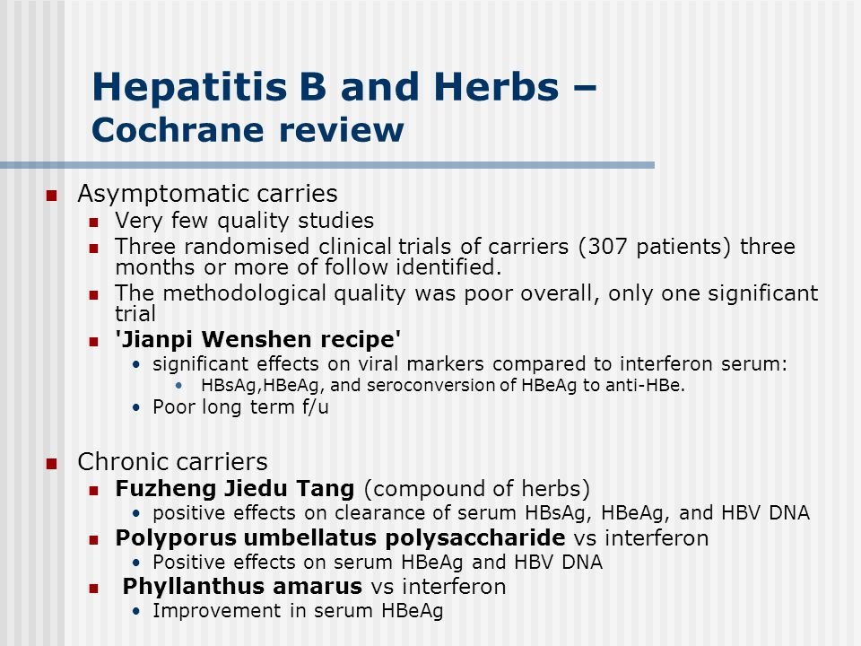 Hepatitis B and Herbs – Cochrane review