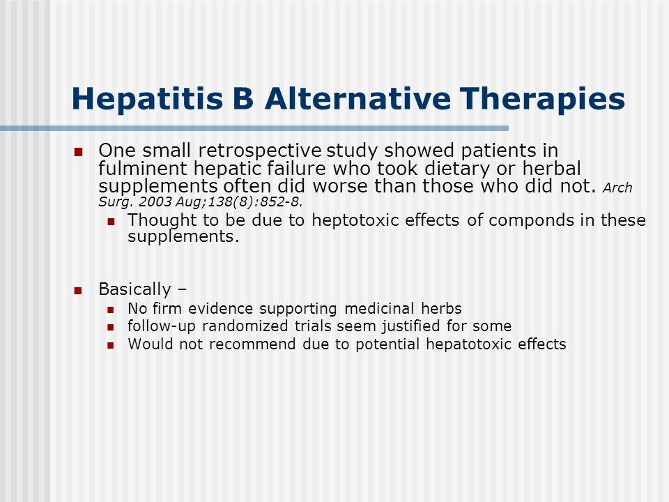 Hepatitis B Alternative Therapies