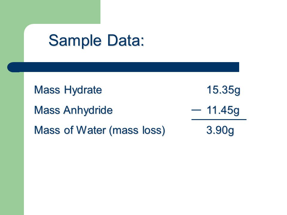 Sample Data: Mass Hydrate 15.35g Mass Anhydride 11.45g