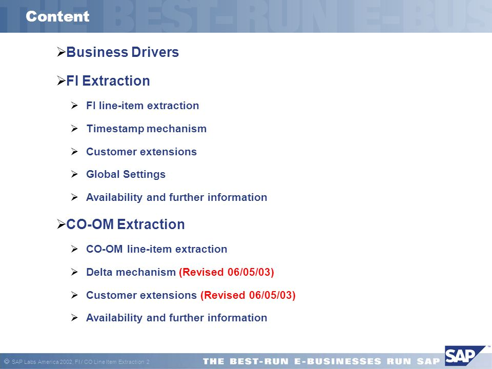 Content Business Drivers FI Extraction CO-OM Extraction