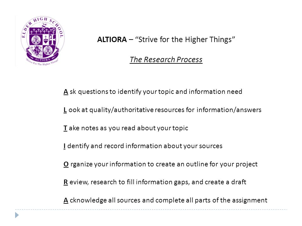 ALTIORA – Strive for the Higher Things