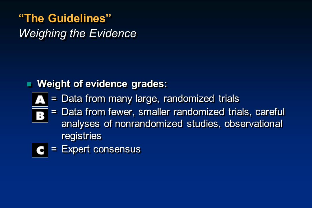 The Guidelines Weighing the Evidence
