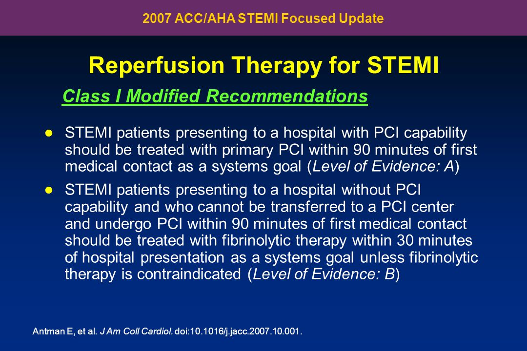 Reperfusion Therapy for STEMI