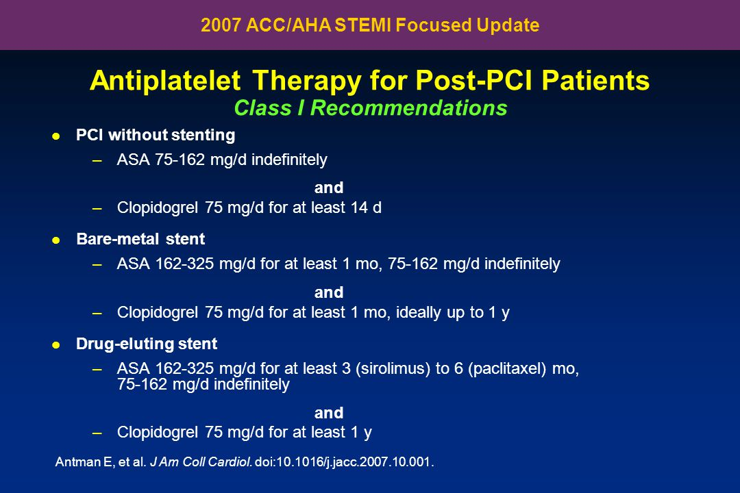 Antiplatelet Therapy for Post-PCI Patients Class I Recommendations