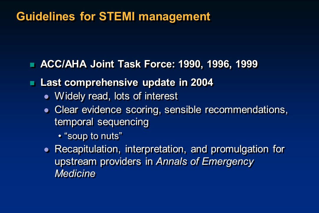Guidelines for STEMI management