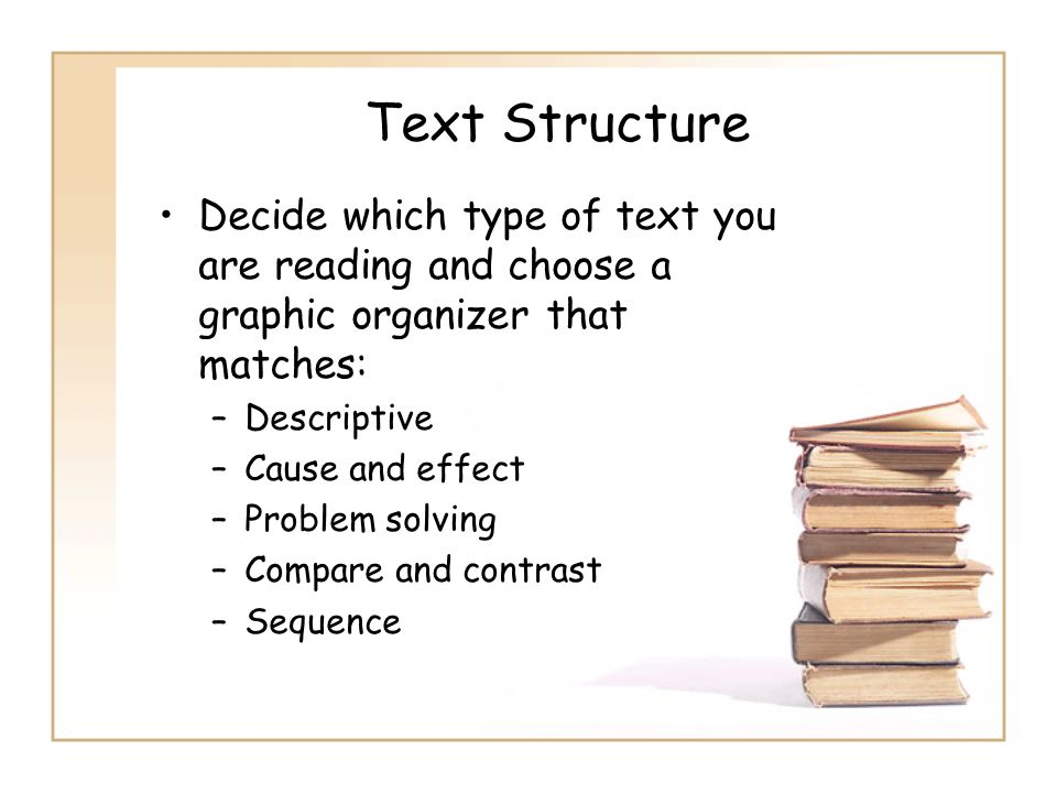 Text Structure Decide which type of text you are reading and choose a graphic organizer that matches: