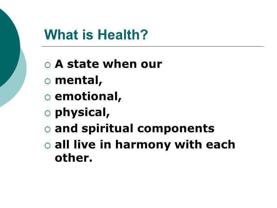 What is Health A state when our mental, emotional, physical,