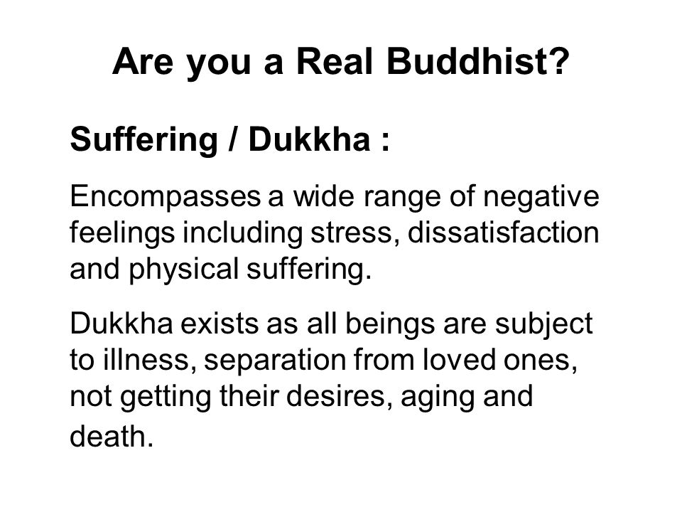 Are you a Real Buddhist Suffering / Dukkha :