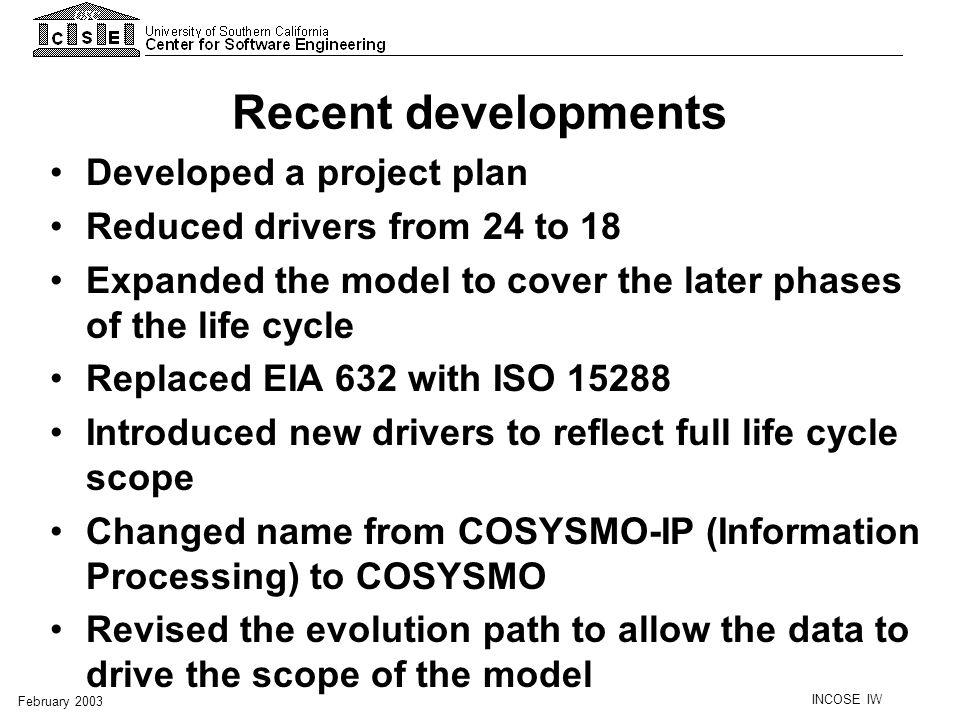 Recent developments Developed a project plan