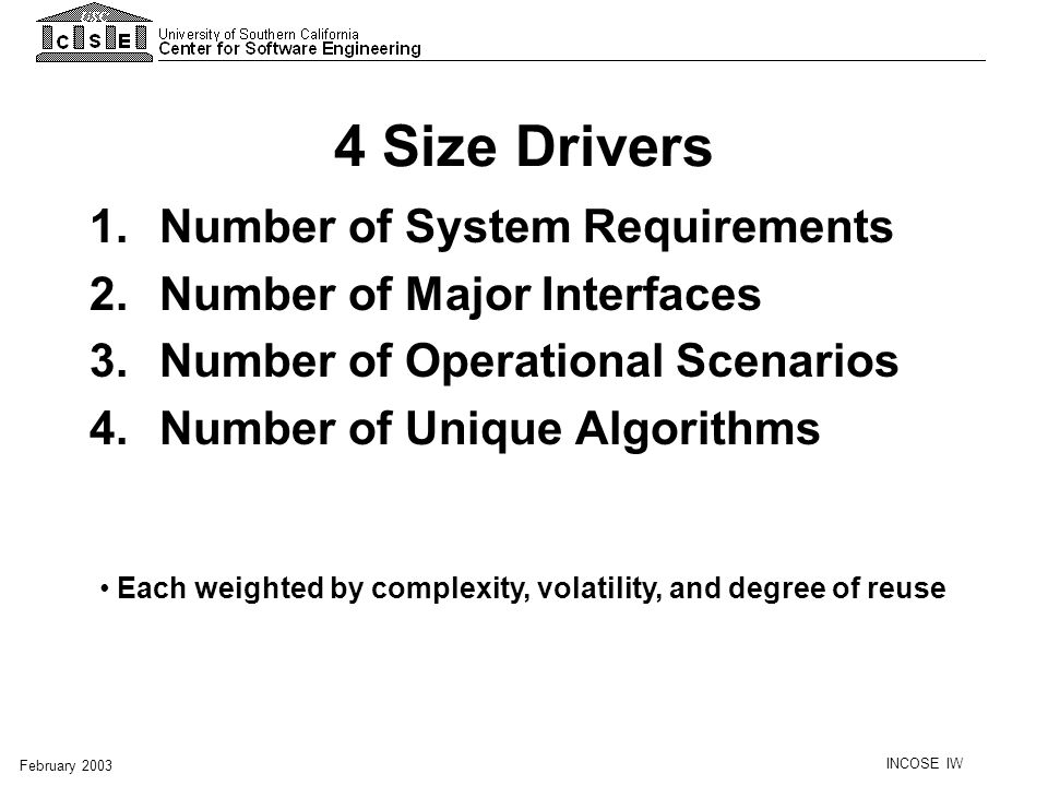 4 Size Drivers Number of System Requirements