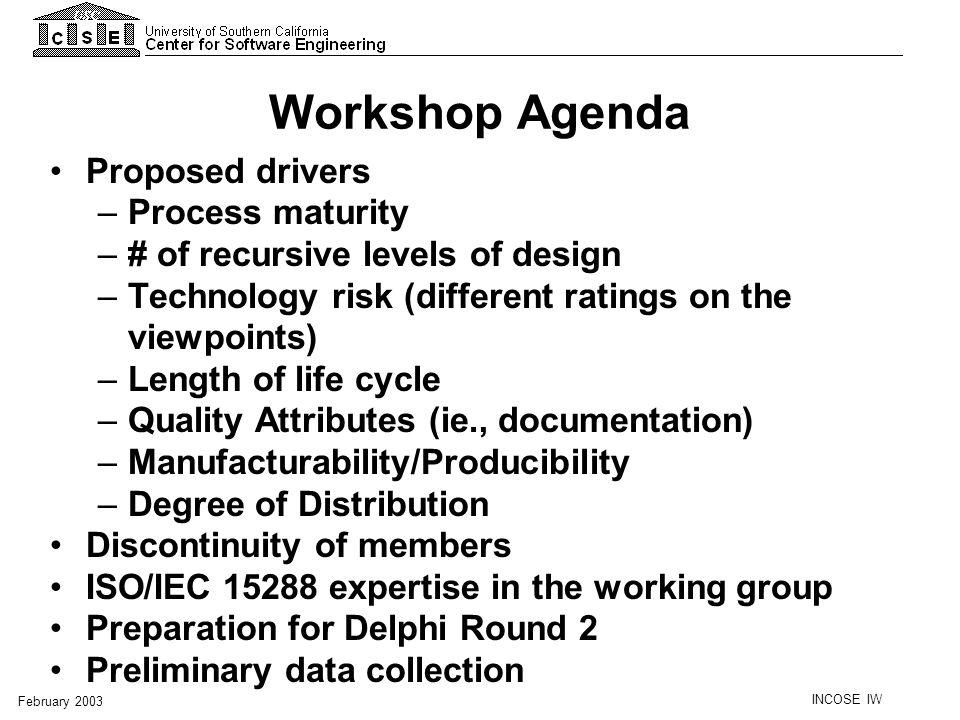Workshop Agenda Proposed drivers Process maturity