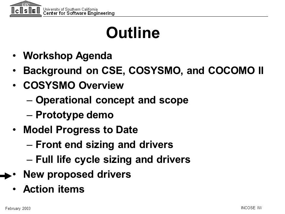 Outline Workshop Agenda Background on CSE, COSYSMO, and COCOMO II
