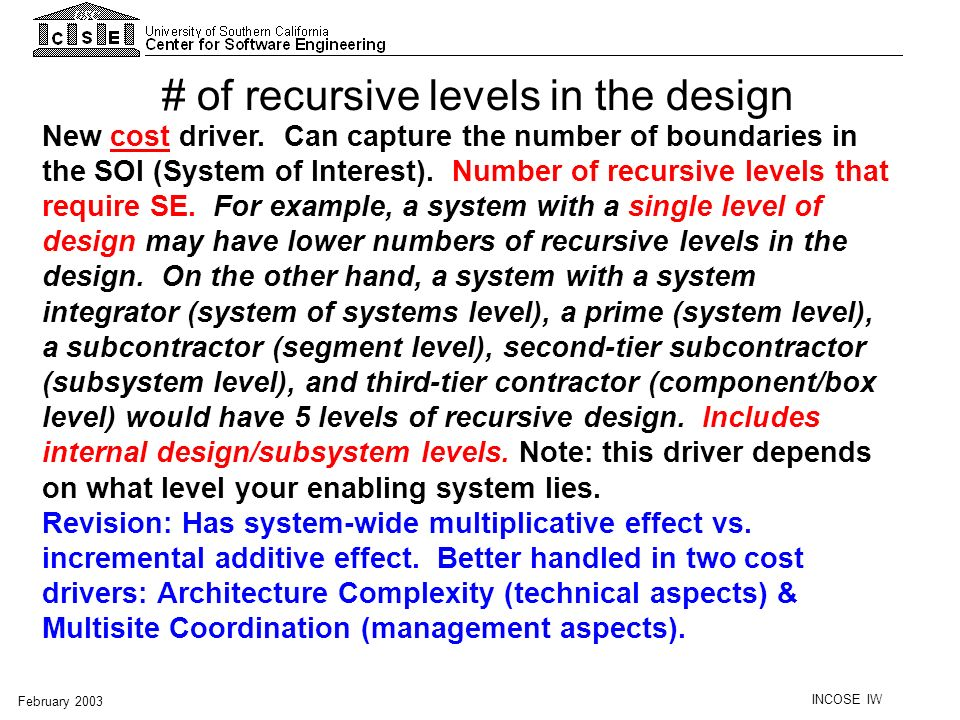 # of recursive levels in the design