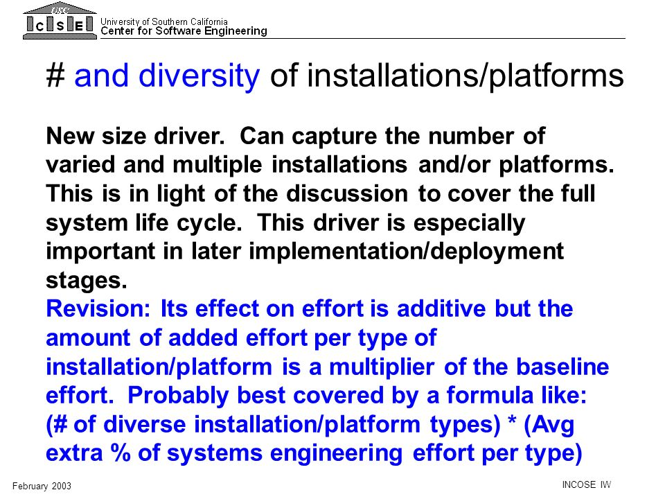 # and diversity of installations/platforms