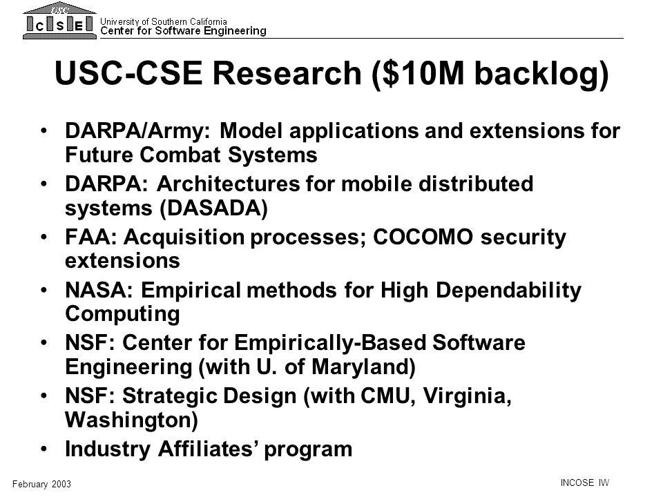 USC-CSE Research ($10M backlog)