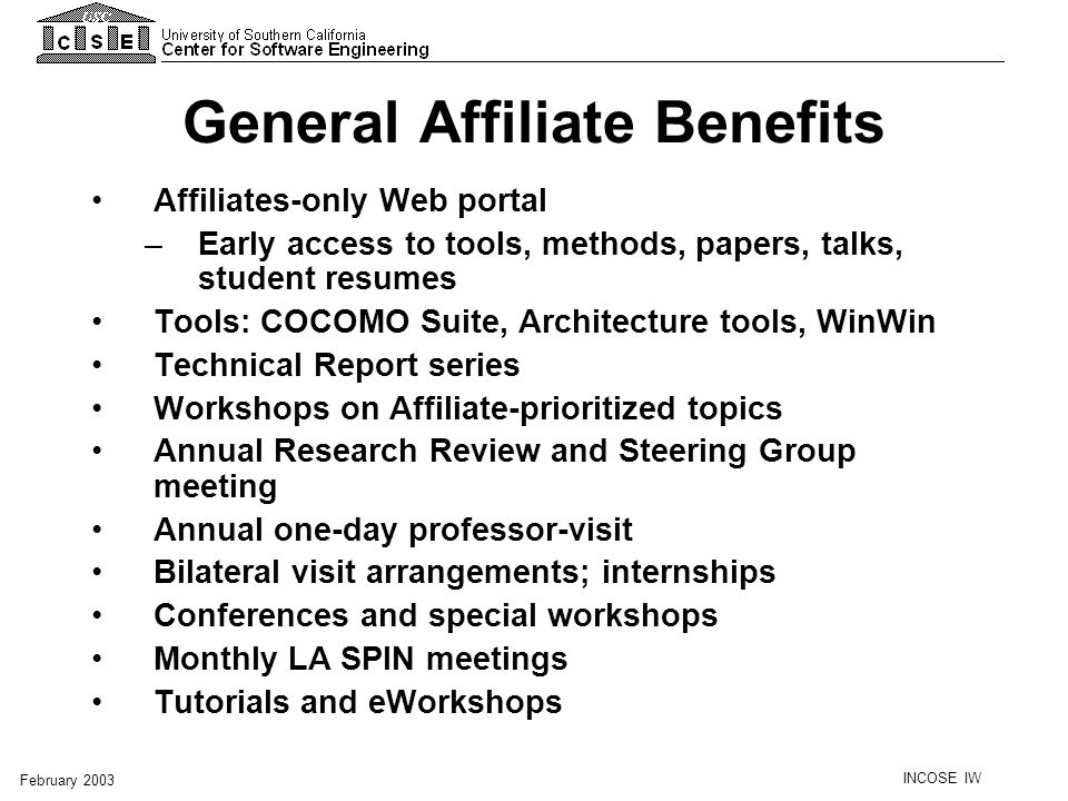 General Affiliate Benefits
