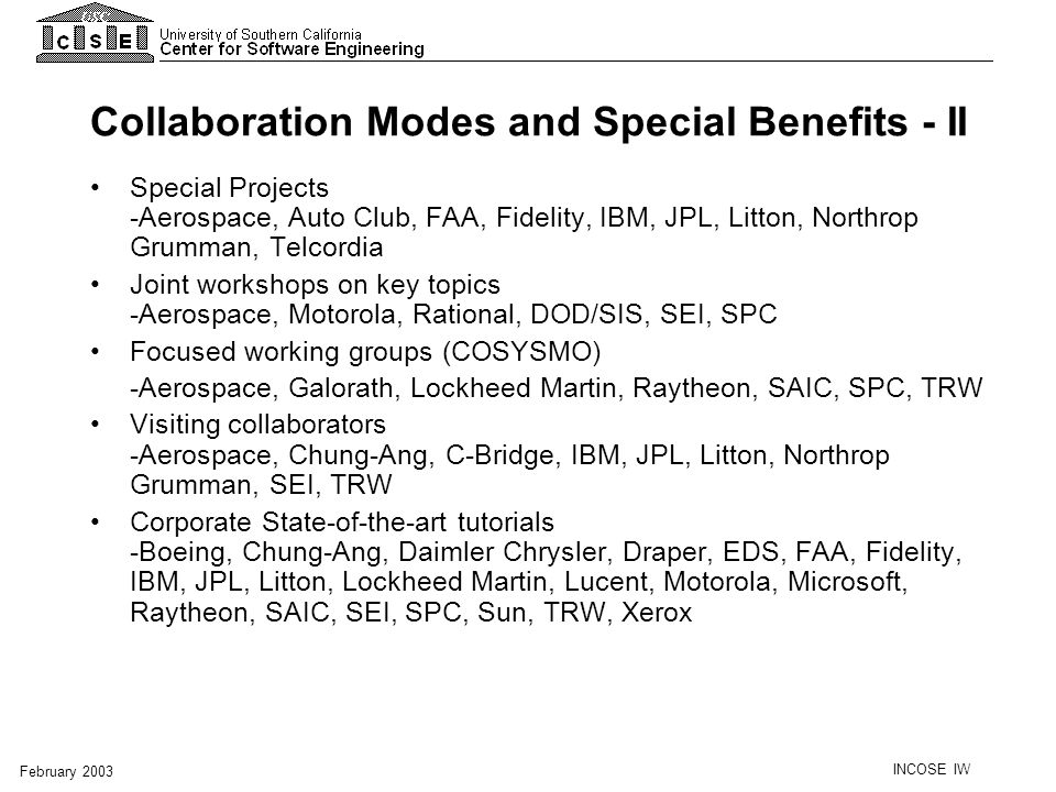 Collaboration Modes and Special Benefits - II