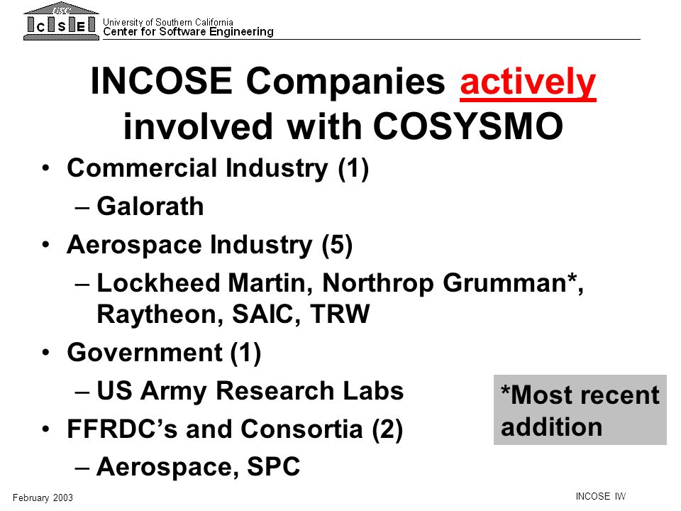 INCOSE Companies actively involved with COSYSMO