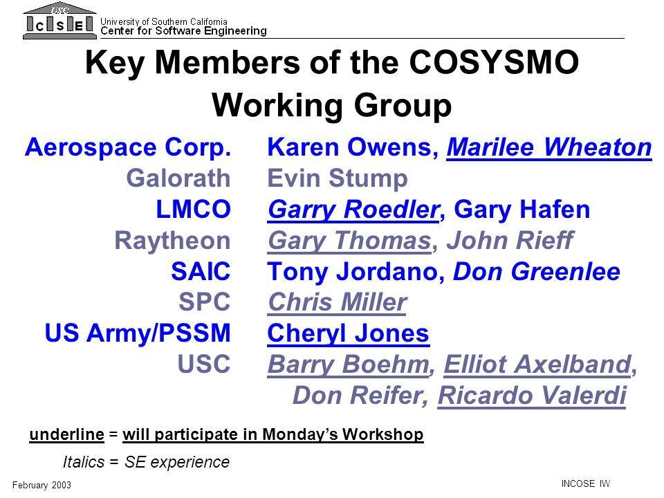 Key Members of the COSYSMO Working Group