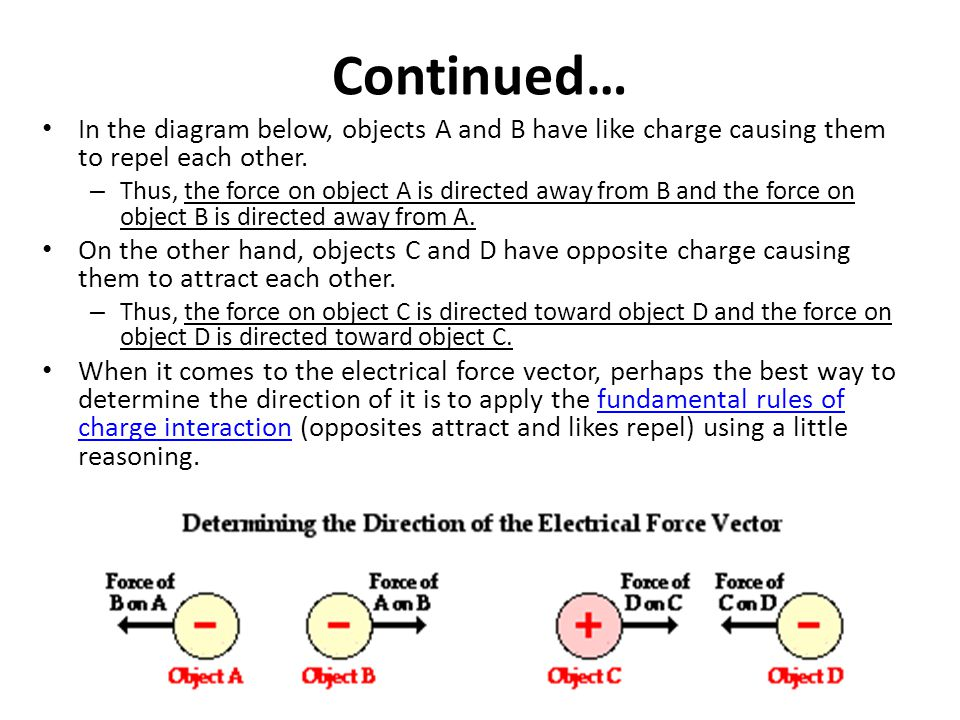 Continued… In the diagram below, objects A and B have like charge causing them to repel each other.