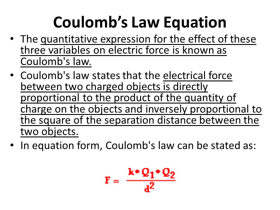Coulomb's Law Equation