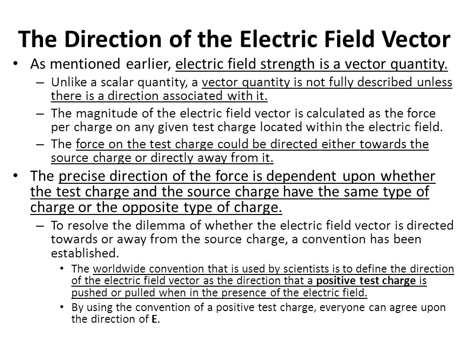 The Direction of the Electric Field Vector