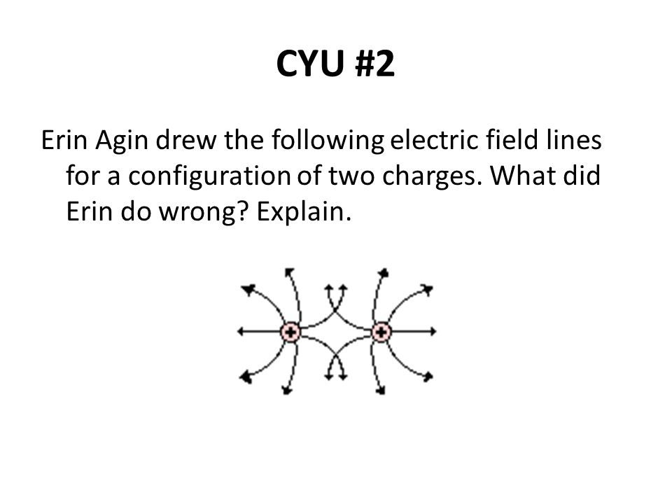 CYU #2 Erin Agin drew the following electric field lines for a configuration of two charges.