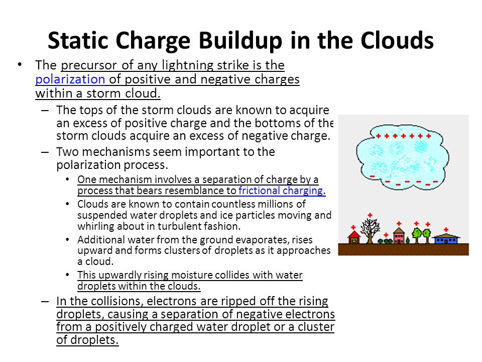 Static Charge Buildup in the Clouds
