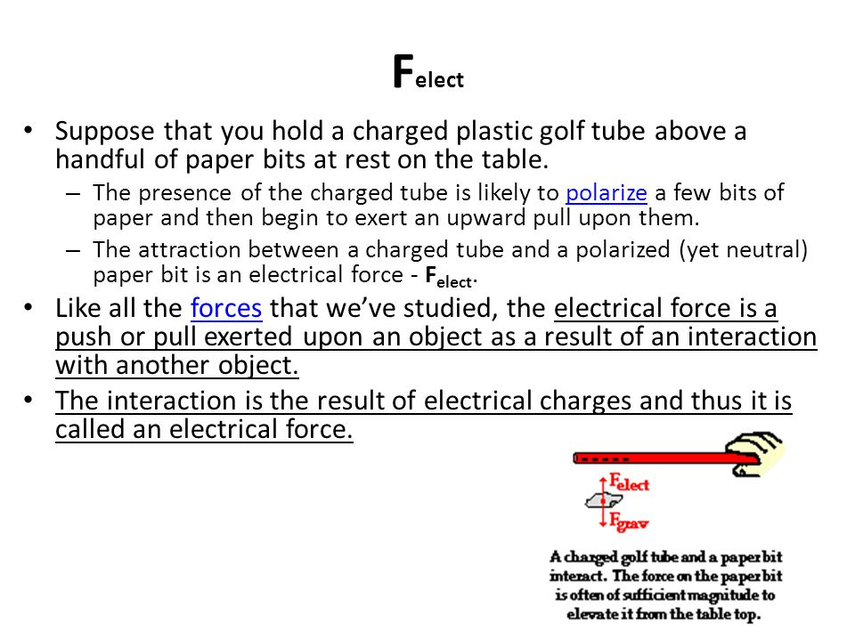 Felect Suppose that you hold a charged plastic golf tube above a handful of paper bits at rest on the table.