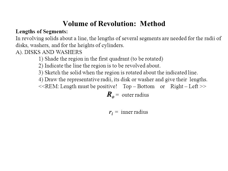 Volume of Revolution: Method