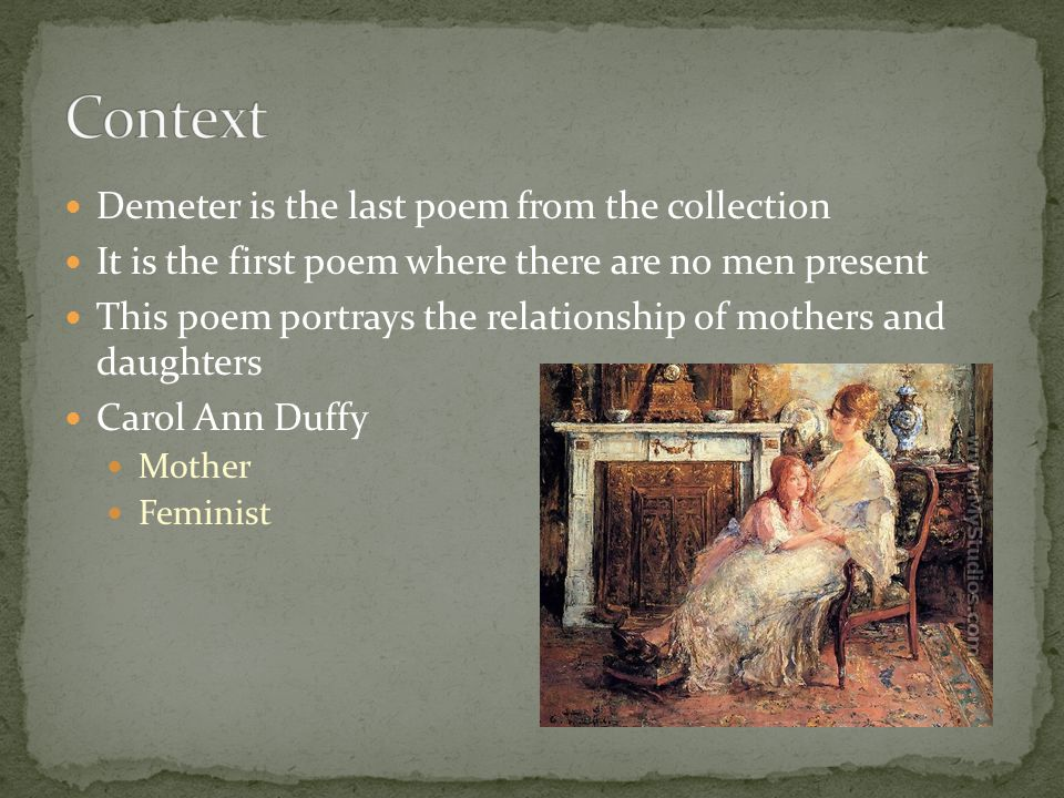 Context Demeter is the last poem from the collection