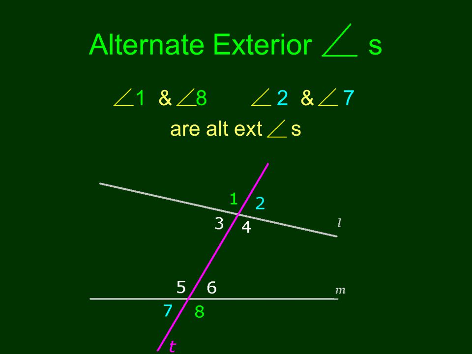 Alternate Exterior s 1 & 8 2 & 7 are alt ext s