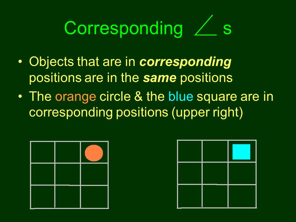 Corresponding s Objects that are in corresponding positions are in the same positions.