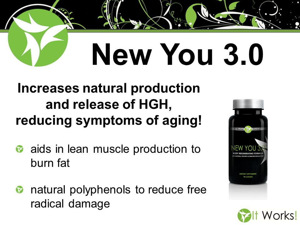 New You 3.0 Increases natural production and release of HGH, reducing symptoms of aging! aids in lean muscle production to burn fat.