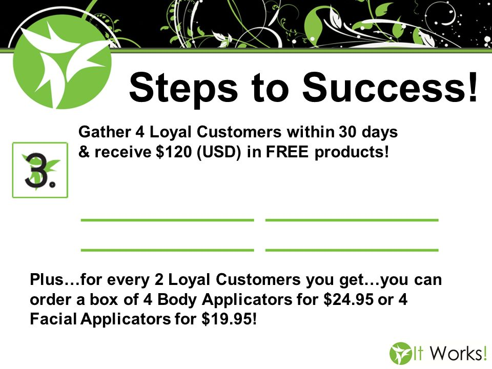 Steps to Success! Gather 4 Loyal Customers within 30 days & receive $120 (USD) in FREE products!