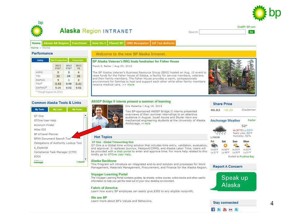 How to look up documents from our BP Intranet homepage