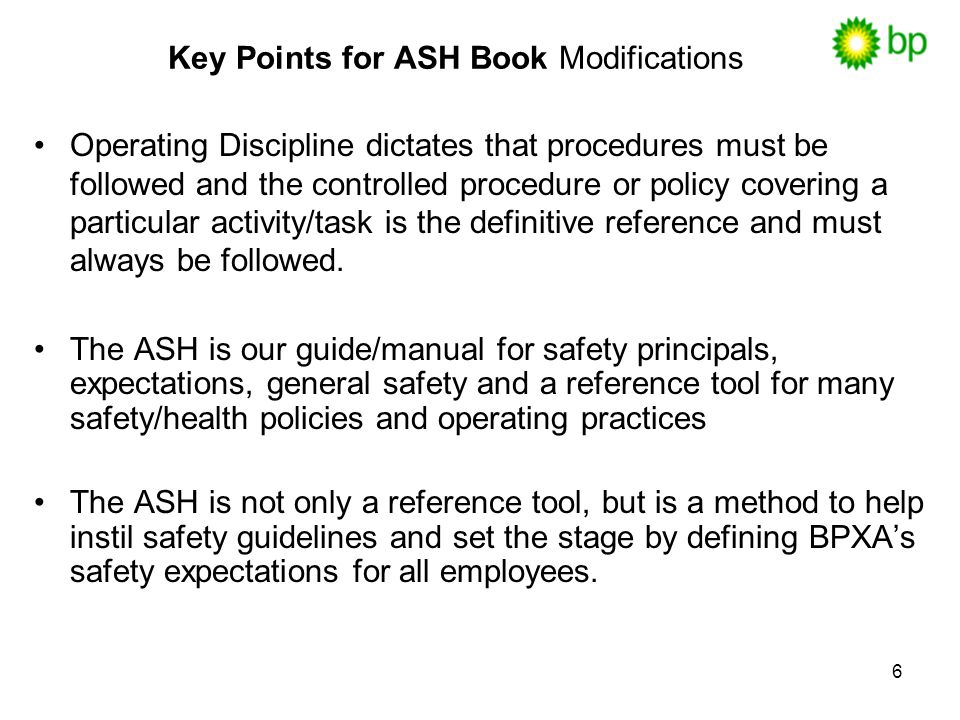 Key Points for ASH Book Modifications