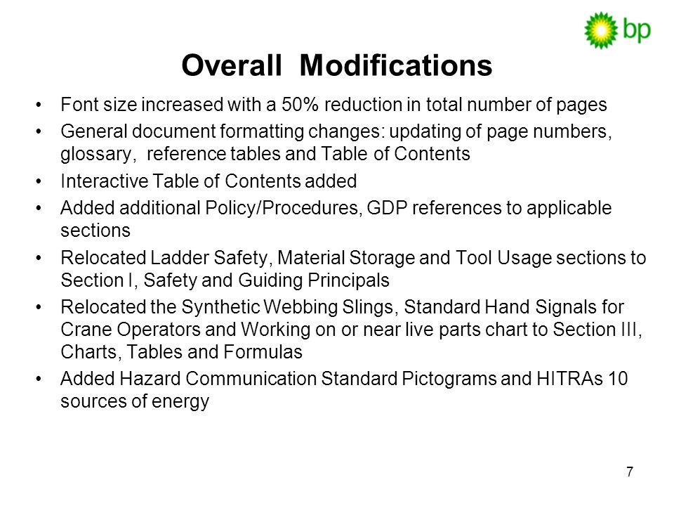 Overall Modifications