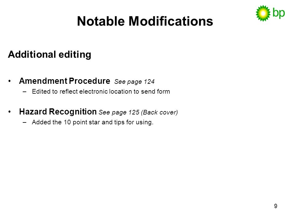 Notable Modifications