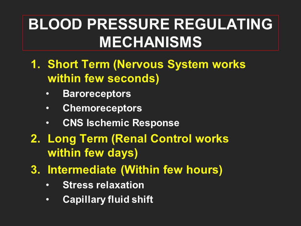 BLOOD PRESSURE REGULATING MECHANISMS