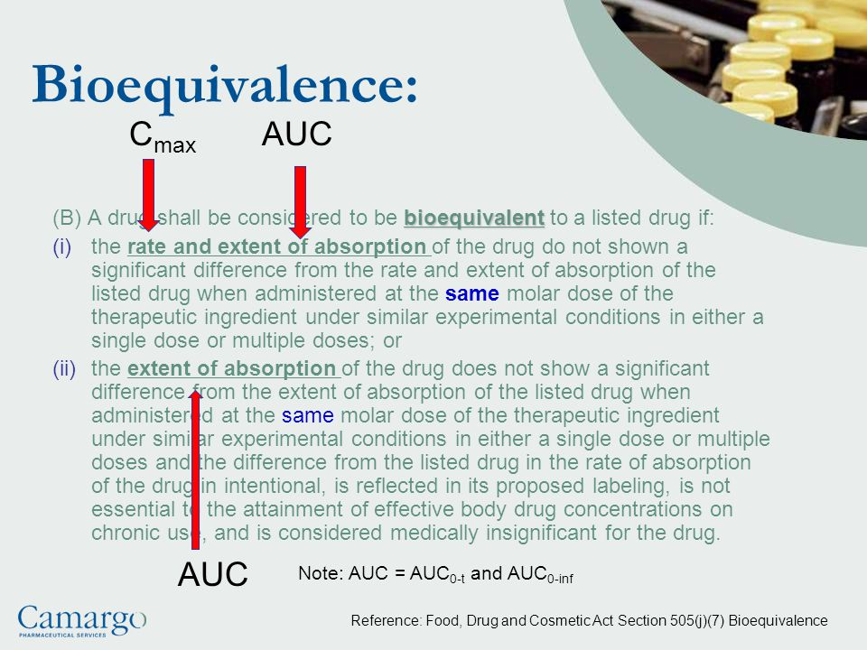 Bioequivalence: Cmax AUC AUC