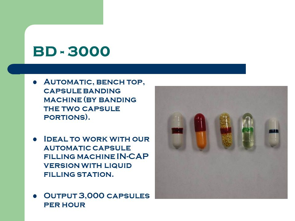 BD - 3000 Automatic, bench top, capsule banding machine (by banding the two capsule portions).