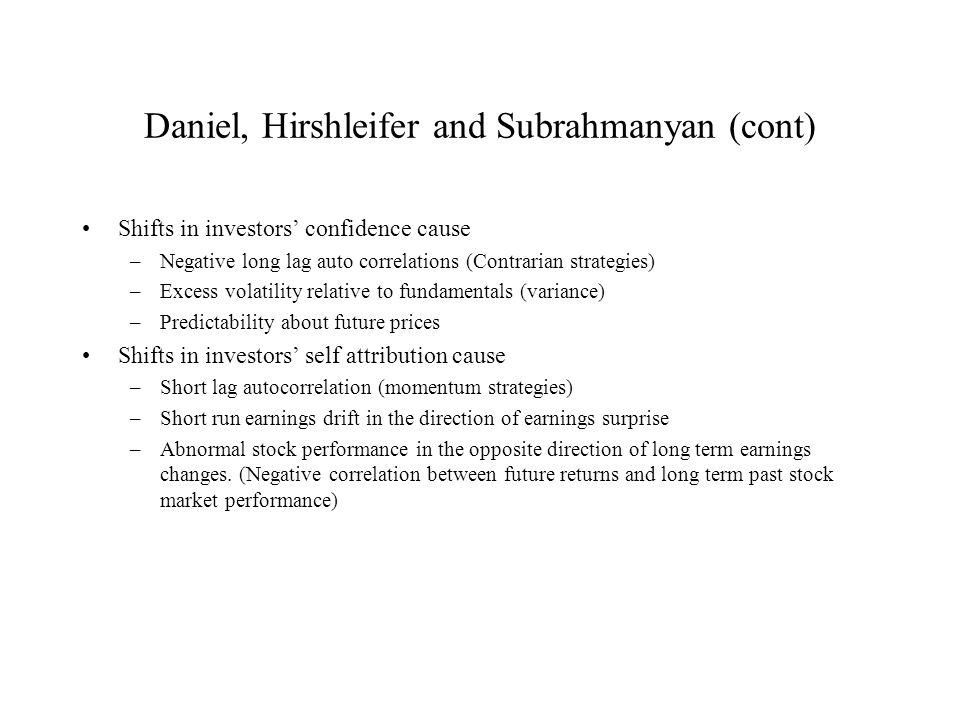 Daniel, Hirshleifer and Subrahmanyan (cont)