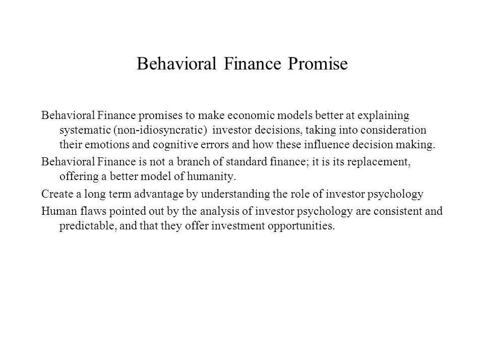 Behavioral Finance Promise