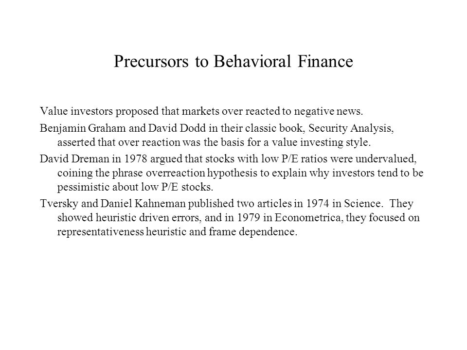 Precursors to Behavioral Finance